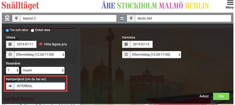 Platsreservationer nattåg interrail Snälltåget