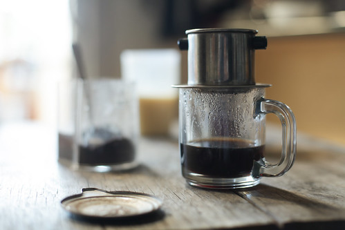 Vietnamese coffee brewing with metal filter