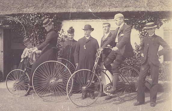 1.Clerical group with bikes, including the new 'Rover' to the right, from the collection of Canon Britain Lougheed (1882–1952), RCB Library Ms 1073.
