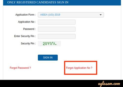 AIEEA UG/PG 2020 Application Form Correction Login