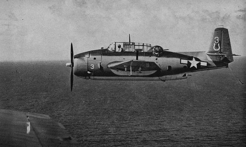 US Navy Grumman TBF Avenger returning to the  USS Hancock (CV-19) circa in 1944.Hancock's air group identification symbol at that time was a horseshoe.