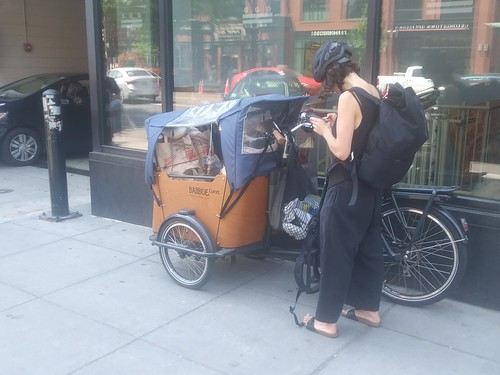 Cargo bicycle with food and child, Harris-Teeter Supermarket, 1st and M Streets NE, Washington, DC