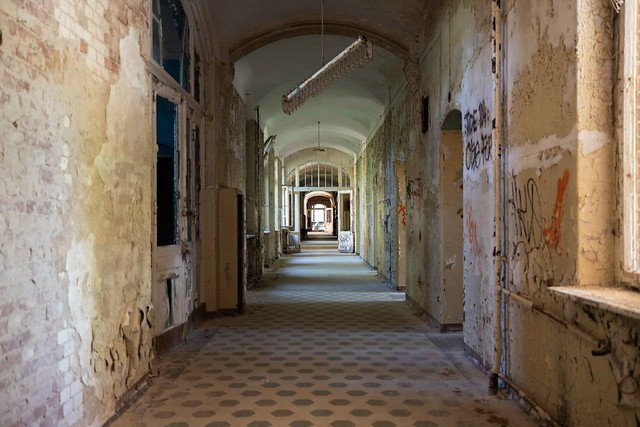The largely abandoned and decaying Beelitz Hospital Complex in the outskirts of Berlin