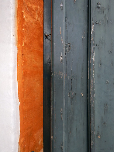 A sliver of orange wall in Copenhagen, Denmark