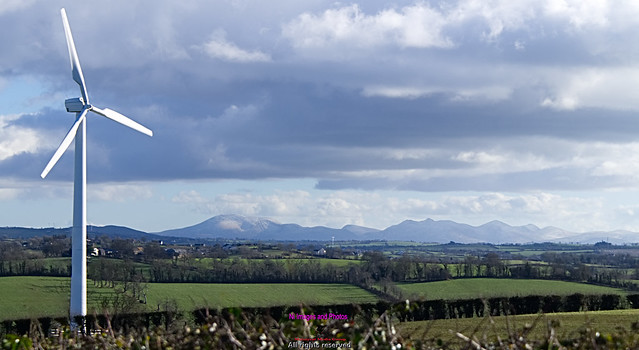 Dromara mountains and windmil on a cold witer's day