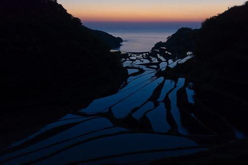 terrace fileds tanada rice sea japan sunset blue kyushu sony nex7 sel1670z 1670mm 佐賀 浜野浦の棚田 玄界灘