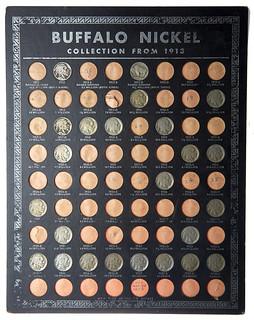 Front 1938 Whitman Buffalo nickels board
