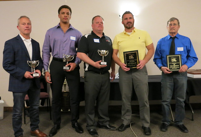 MWCA Individual State Tournament Team Champion Awards Representatives – Jim Jackson of Shakopee, Greg Kerkvleit of Simley, Chad Olson of Kenyon-Wanamingo, Josh Barlage of Apple Valley, and Chuck Marks of Belgrade-Brooten-Elrosa. 190504AJF0858