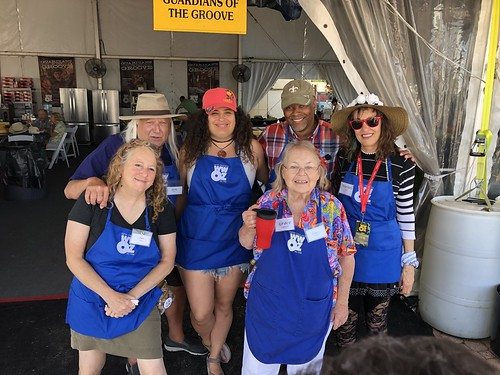 WWOZ Hospitality Tent volunteer team on the morning of the final day of Jazz Fest (Day 8) - 5.5.19. Photo by Carrie Booher.