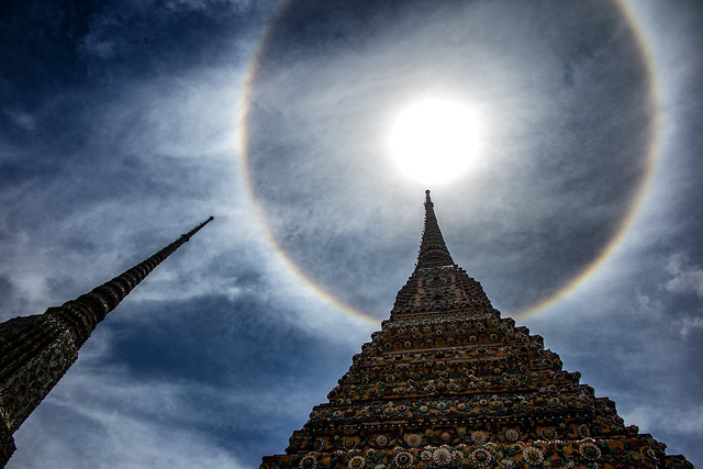 Stupas & A Sun Halo, At Wat Pho Temple, Bangkok