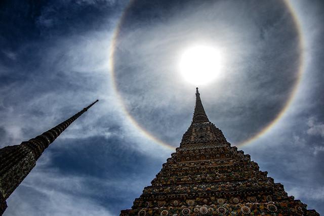 Stupas & A Sun Halo, At Wat Pho Temple, Bangkok