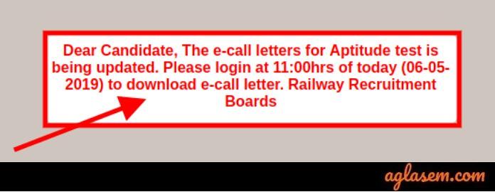 RRB ALP CBT 3 Admit Card Link 2019