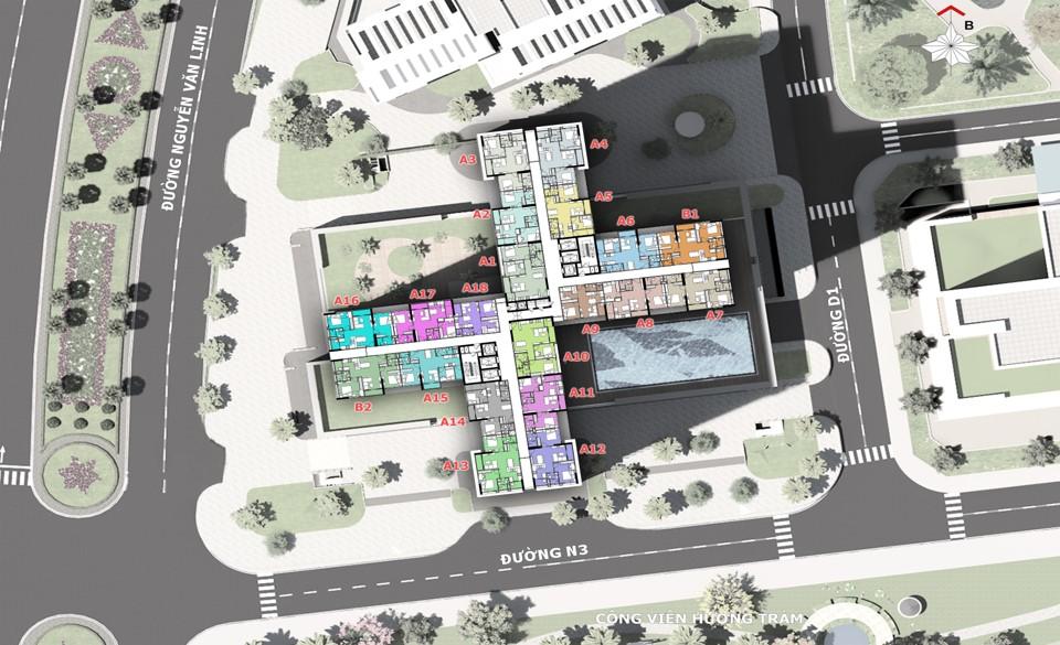 Mặt bằng tầng căn hộ điển hình tháp M2 dự án Eco-Green Sài Gòn quận 7.