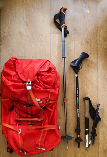 35 - Rucksack as a reference is Mountain Equipment Tupilak 45L (in a compact state).  The lengths of the collapsed poles are 34, 65, and 75 cm from right.