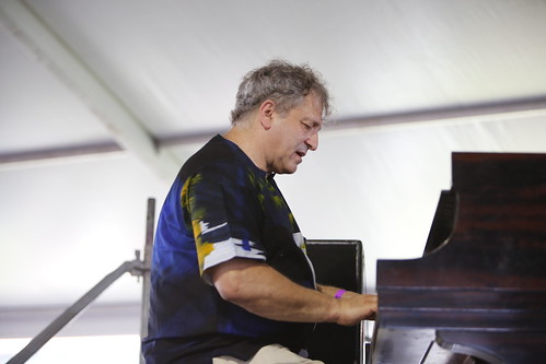 David Torkanowsky playing with Kermit Ruffins at Jazz Fest 2019. Photo by Michele Goldfarb.