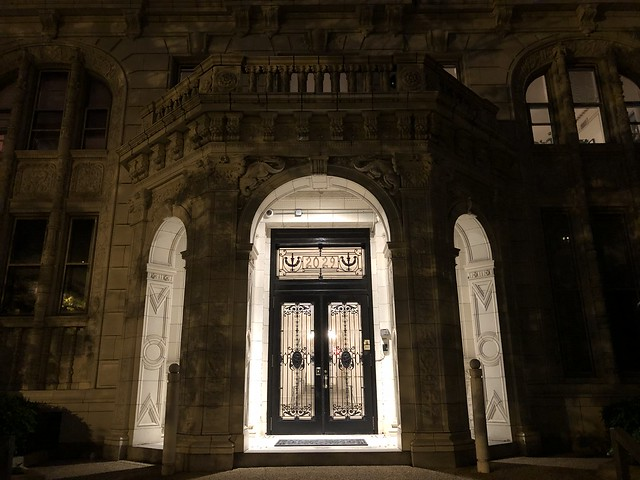 Entrance portico at night 2029 Connecticut Avenue NW, Washington, D.C.