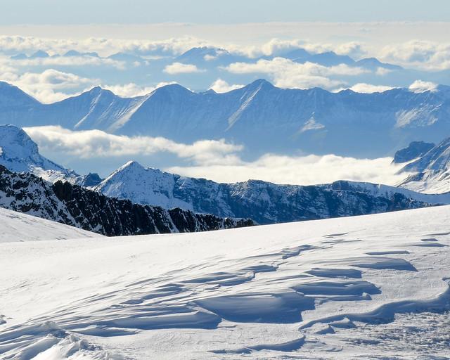 Vistas desde el mirador Sphinx en el Top of Europe de Suiza