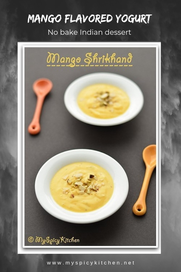 Mango shrikhand is mango flavored thick yogurt, a dessert from western India.