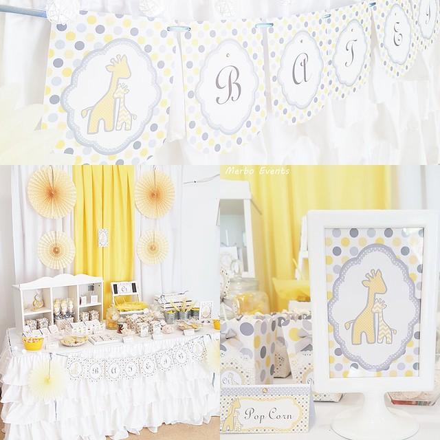 Bautizo decoracion gris y amarillo