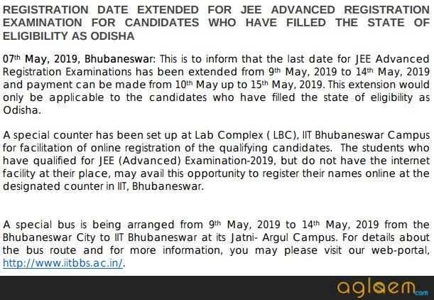 JEE Advanced 2019 Registration Extension