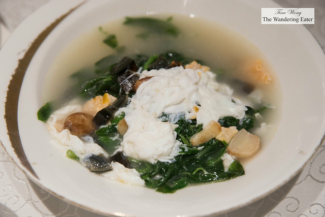 Spinach with century egg, salted egg white, and garlic