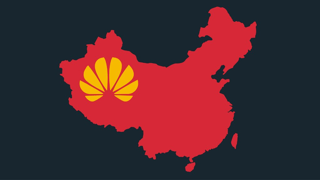 Graphic of China and Huawei logo