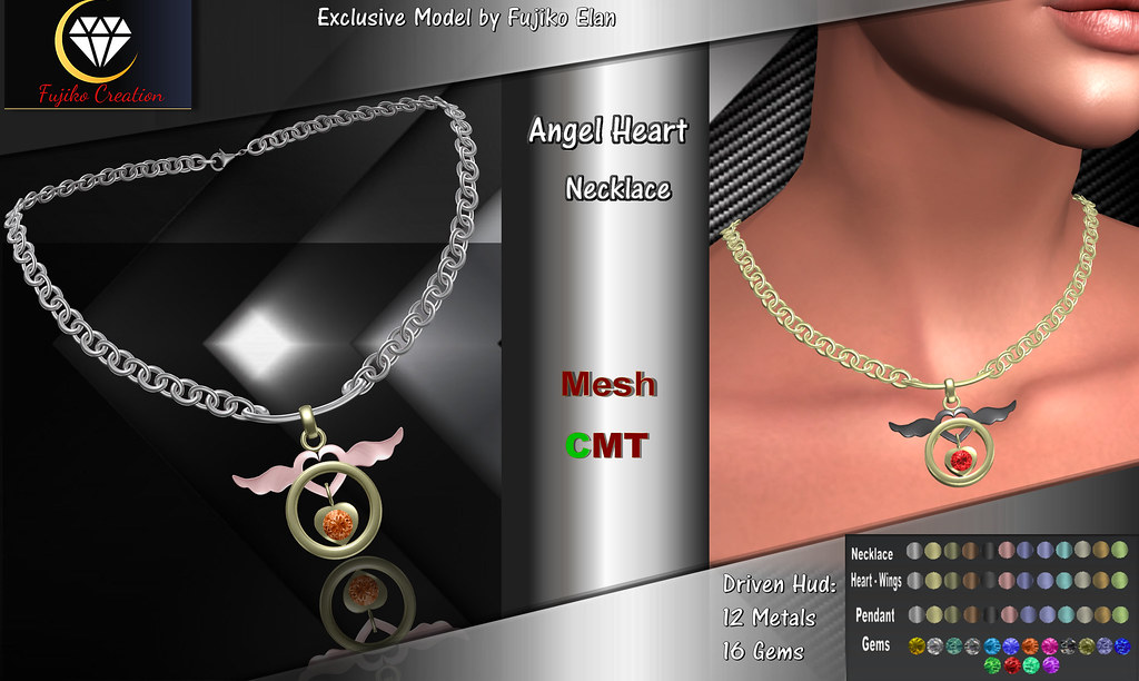 Angel Heart Women's Necklace with Driven Hud