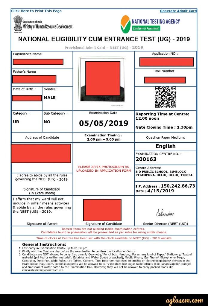 NEET 2019 Admit Card