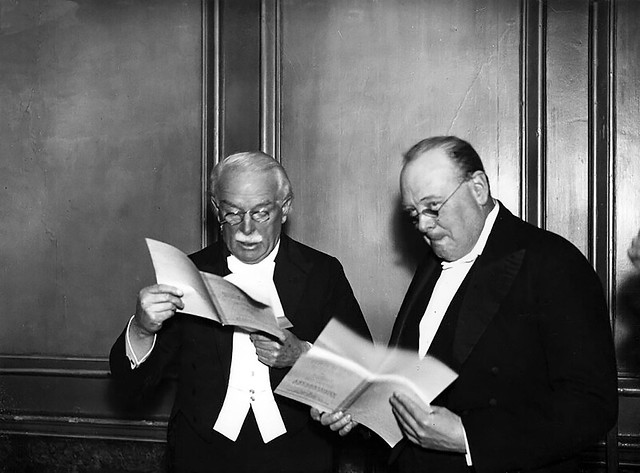 David Lloyd George and Winston Churchill at Connaught Rooms, November 20, 1934