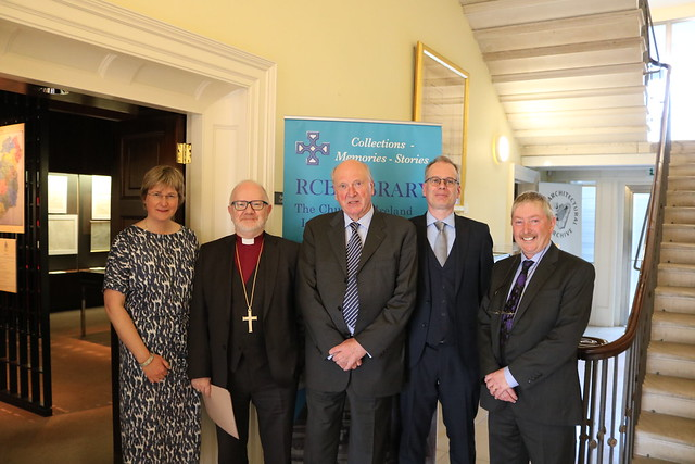 Dr Susan Hood, Archbishop Richard Clarke, Dr Michael Webb, Colum O'Riordan (CEO, IAA) and Dr Michael O'Neill, architectural historian and exhibition curator.