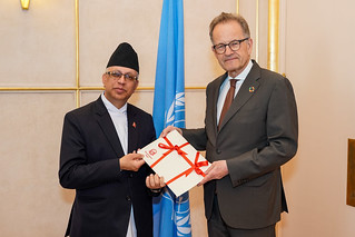 NEW PERMANENT REPRESENTATIVE OF NEPAL PRESENTS CREDENTIALS TO THE DIRECTOR-GENERAL OF THE UNITED NATIONS OFFICE AT GENEVA