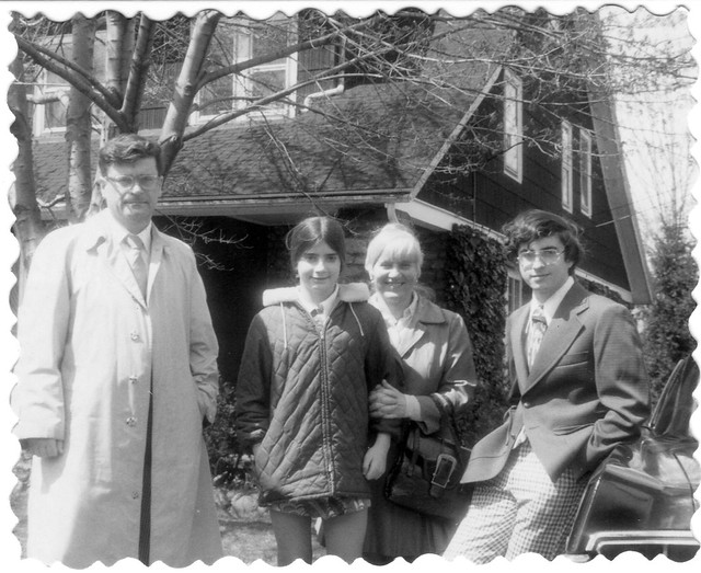 The whole family after returning from Easter Church services. My hair is a mess from sitting next to the open passenger side car window in Dad's 1965 Pontiac Bonneville. Milford Connecticut. March 1973