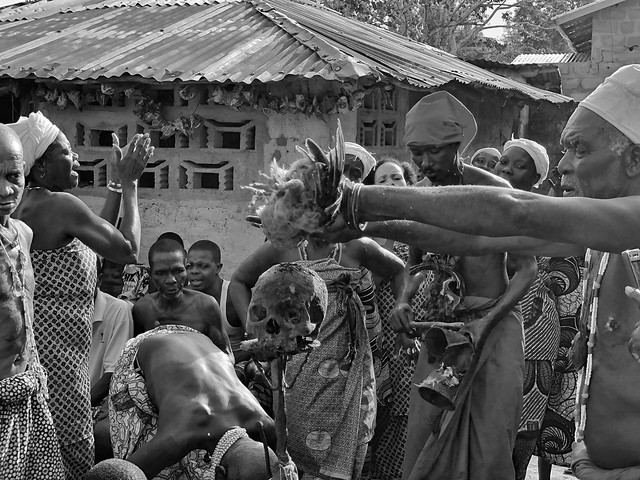 Sacrificio de una gallina en una ceremonia vudú en Benín