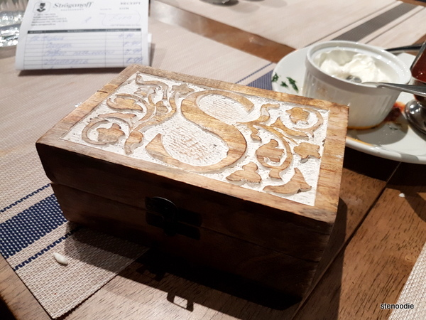 Stroganoff Restaurant receipt box