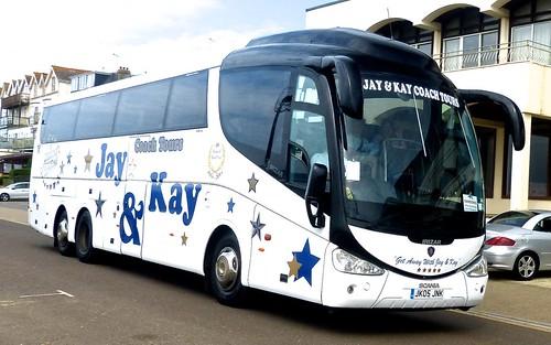 JK05 JNK 'Jay & Kay Coach Tours' (Brazier), Crayford. Scania 420EB6 / Irizar PB on Dennis Basford's railsroadsrunways.blogspot.co.uk'