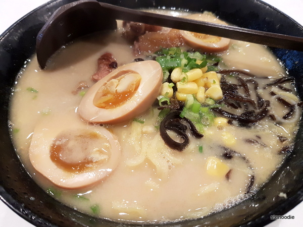 Japanese ramen in ginger soup with tenderous rib and boiled egg