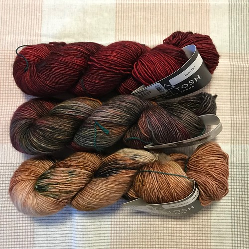 Madelinetosh Tosh Merino Light in Tart, Rocky Mountain High and Dark Roast