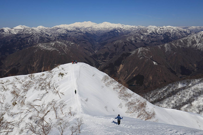 冬の荒島岳から白山連峰