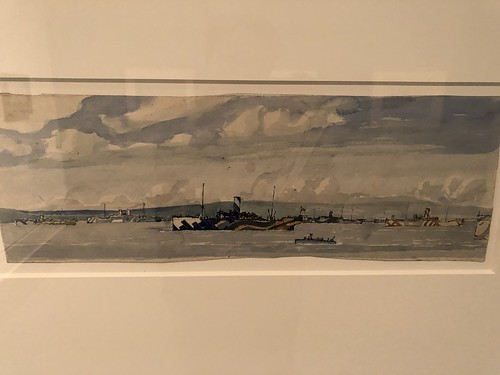 Arthur Lismer Watercolor of WW1 ship in dazzle camo