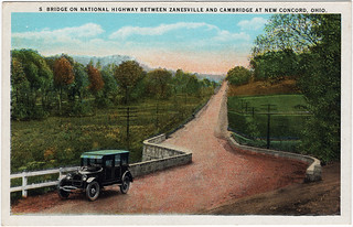 S Bridge on National Highway Between Zanesville and Cambridge at New Concord, Ohio (Date Unknown)