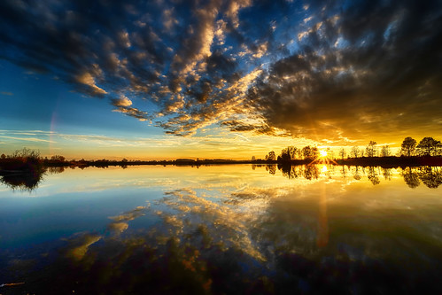 sunset on lake in Germany with beautiful reflections
