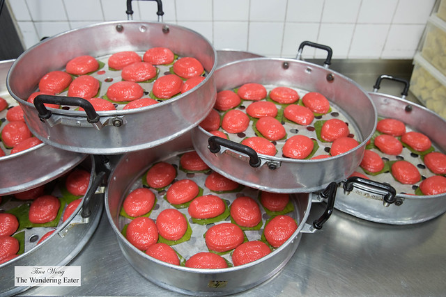 Ang Ku Kueh 紅龜粿  or red tortoise cakes ready to be steamed