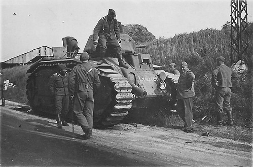 German soldiers checking out a French  Char B1-bis No 484 (Lyautey)   May 1940.