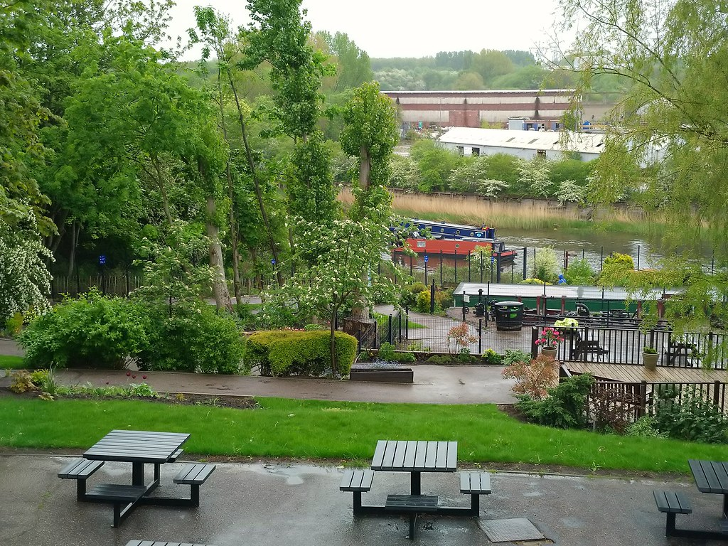 Picnic area overlooking the canal at the Anderton Boat Lift, Northwich