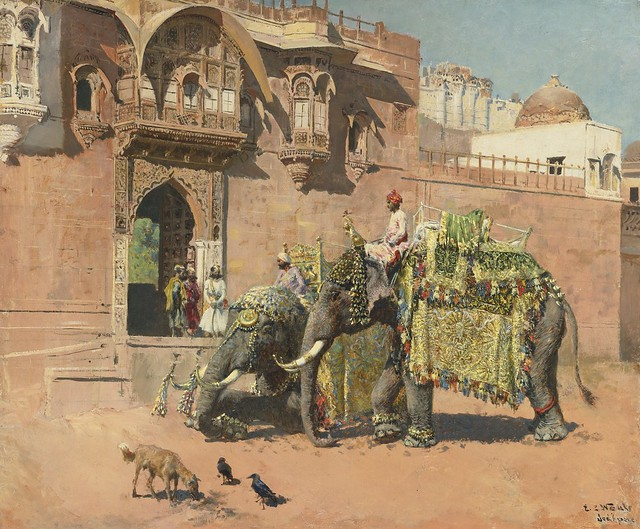 EDWIN LORD WEEKS 1849 - 1903 AMERICAN - THE ELEPHANTS OF RAJAH JODHPORE