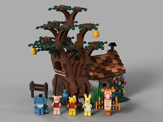 benlouisa 樂高MOC 作品《小熊維尼》小熊維尼的家與朋友們 The home of Winnie the Pooh and his friends
