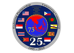 SINGAPORE (April 19, 2019) A logo commemorating 25 years of exercise Cooperation Afloat Readiness and Training. (U.S. Navy graphic by Mass Communication Specialist 2nd Class Christopher Veloicaza)