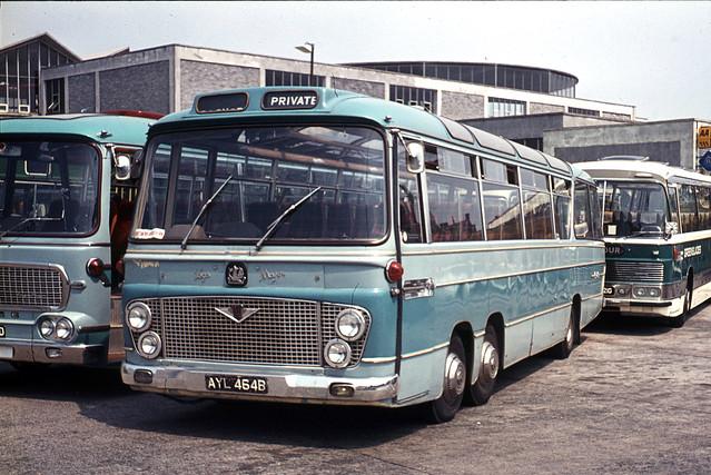 Mitchell . Perranporth , Cornwall . AYL464B . Bretonside Bus Station , Plymouth Devon .  July-1972 .