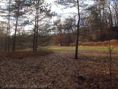 The picnic area (aka open field) at the far end of the loop in Corbett's Glen, Penfield, New York