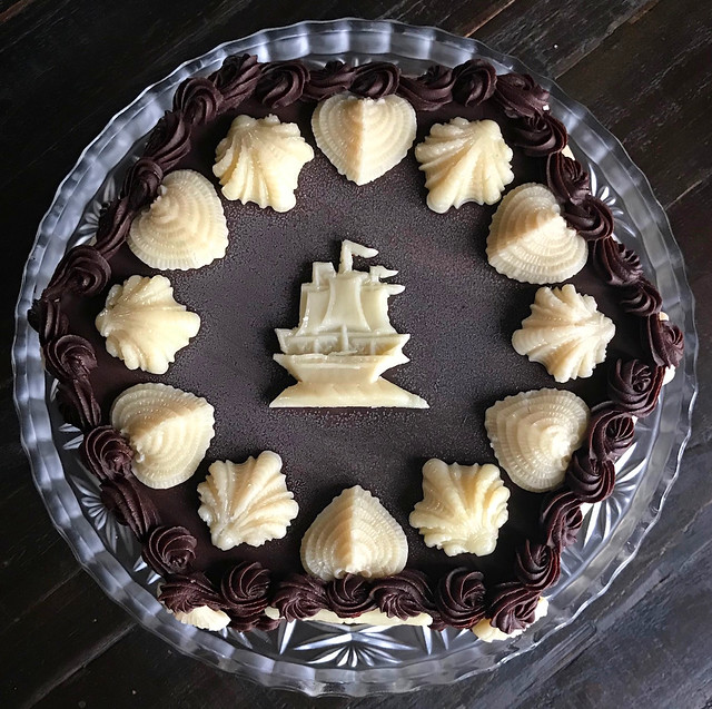 rum, chocolate, marzipan seashell torte